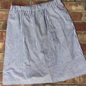 J.Crew Blue and White Striped Midi A-Line Skirt